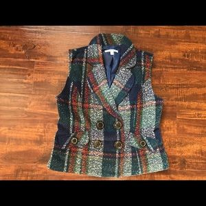 CABI Plaid Double Breasted Vest NWOT! Style 908!